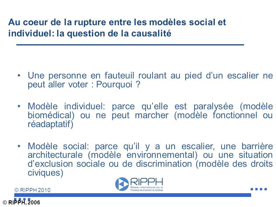 © RIPPH 2010 Au coeur de la rupture entre les modèles social et individuel: la question de la causalité Une personne en fauteuil roulant au pied dun escalier ne peut aller voter : Pourquoi .