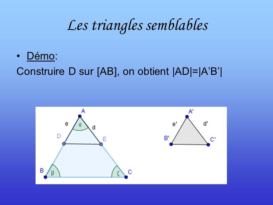 Les triangles semblables Démo: Construire D sur [AB], on obtient |AD|=|AB|