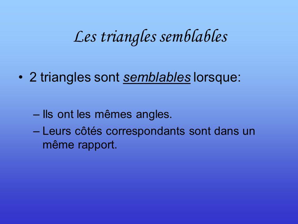 2 triangles sont semblables lorsque: –Ils ont les mêmes angles. –Leurs côtés correspondants sont dans un même rapport.