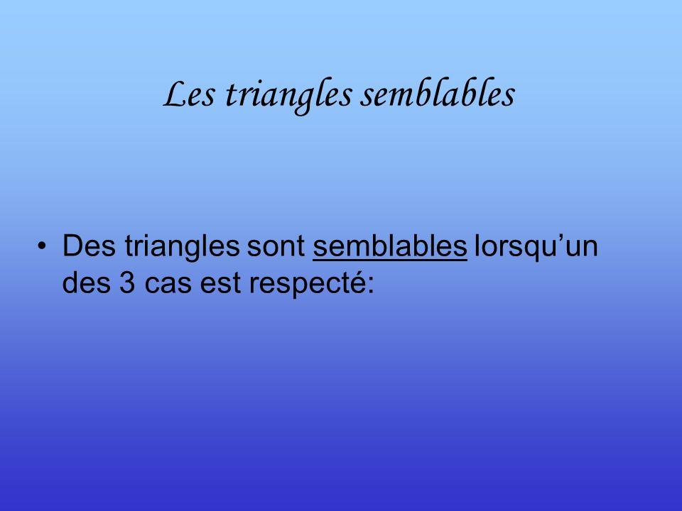 Les triangles semblables Des triangles sont semblables lorsquun des 3 cas est respecté: