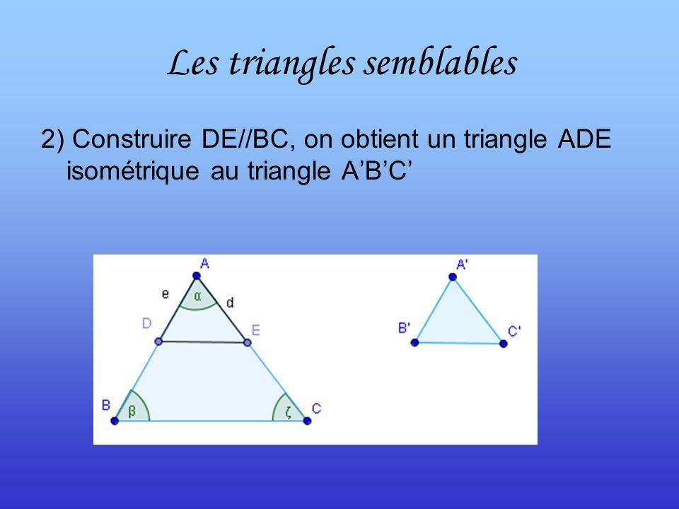 Les triangles semblables 2) Construire DE//BC, on obtient un triangle ADE isométrique au triangle ABC