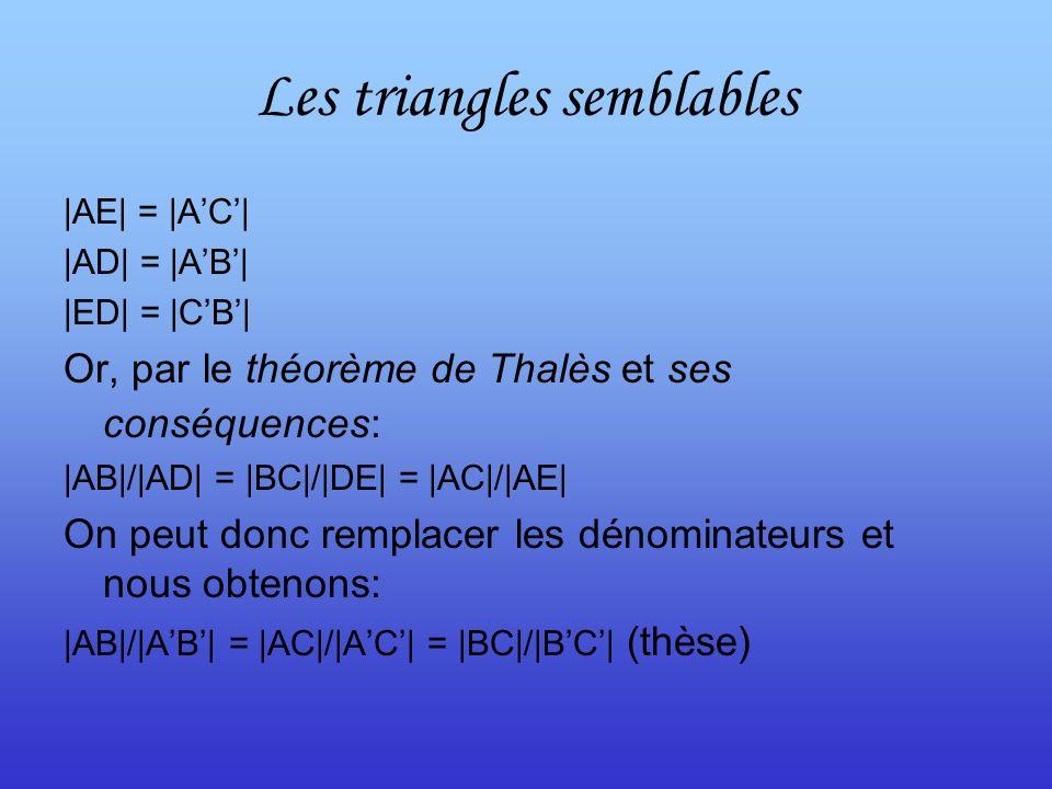 Les triangles semblables |AE| = |AC| |AD| = |AB| |ED| = |CB| Or, par le théorème de Thalès et ses conséquences: |AB|/|AD| = |BC|/|DE| = |AC|/|AE| On peut donc remplacer les dénominateurs et nous obtenons: |AB|/|AB| = |AC|/|AC| = |BC|/|BC| (thèse)