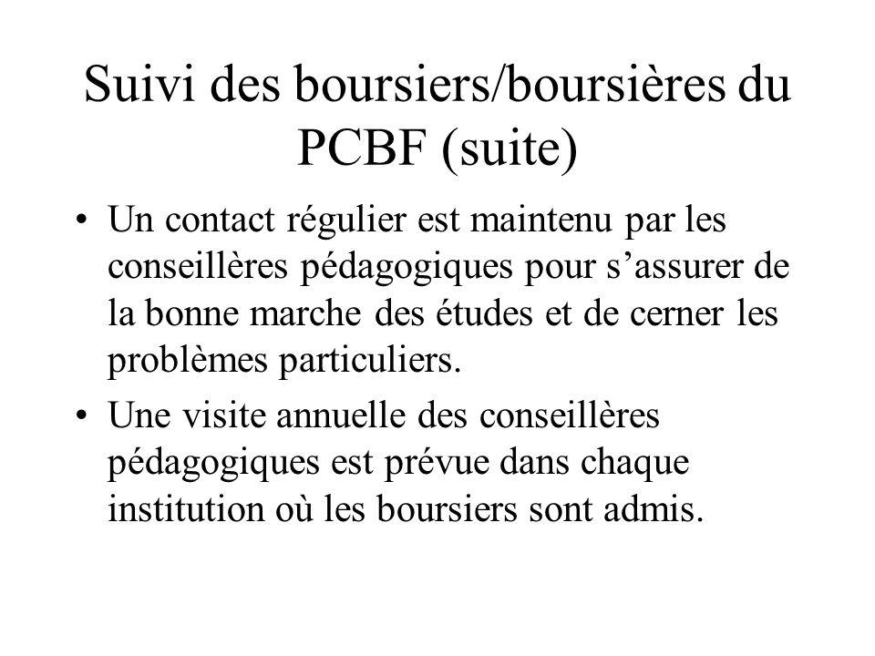 Suivi des boursiers/boursières du PCBF (suite) Un contact régulier est maintenu par les conseillères pédagogiques pour sassurer de la bonne marche des études et de cerner les problèmes particuliers.
