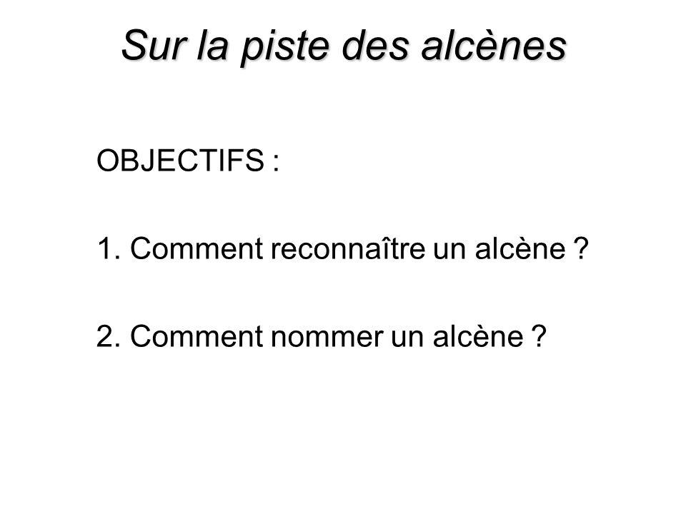 Sur la piste des alcènes OBJECTIFS : 1. Comment reconnaître un alcène ? 2. Comment nommer un alcène ?