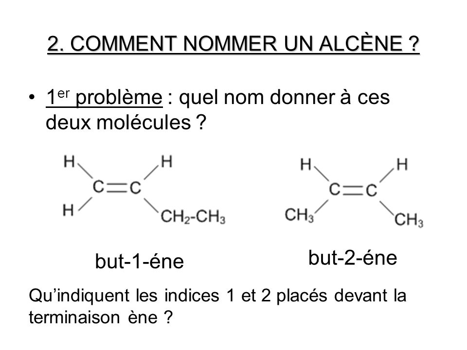 2. COMMENT NOMMER UN ALCÈNE ? 1 er problème : quel nom donner à ces deux molécules ? but-1-éne Quindiquent les indices 1 et 2 placés devant la termina