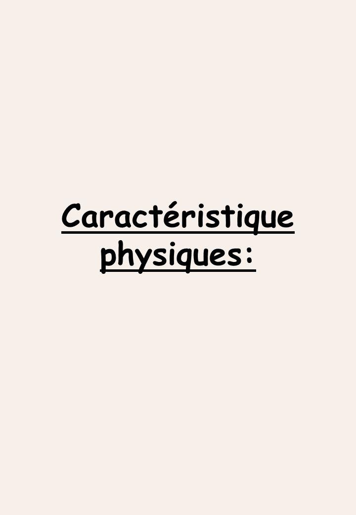 Caractéristique physiques: