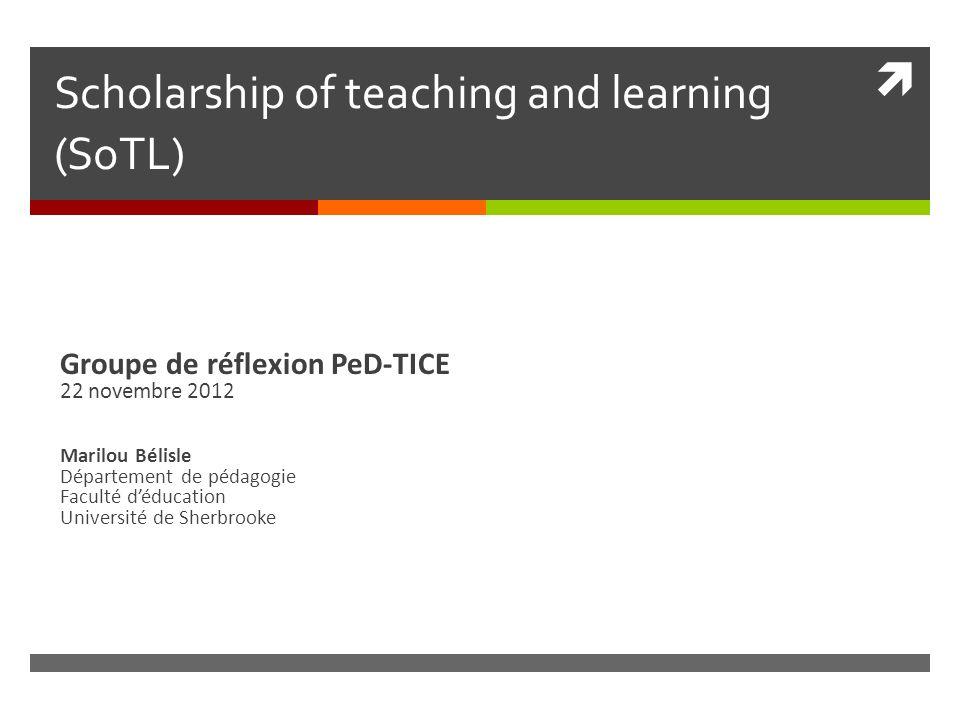 Plan de présentation Origine du SoTL Conceptions du SoTL Démarche SoTL Méthodologies pour le SoTL PeD-TICE et SoTL Références © 2012.