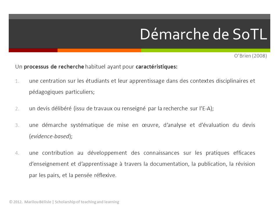 Démarche de SoTL © 2012. Marilou Bélisle   Scholarship of teaching and learning Un processus de recherche habituel ayant pour caractéristiques: 1. une