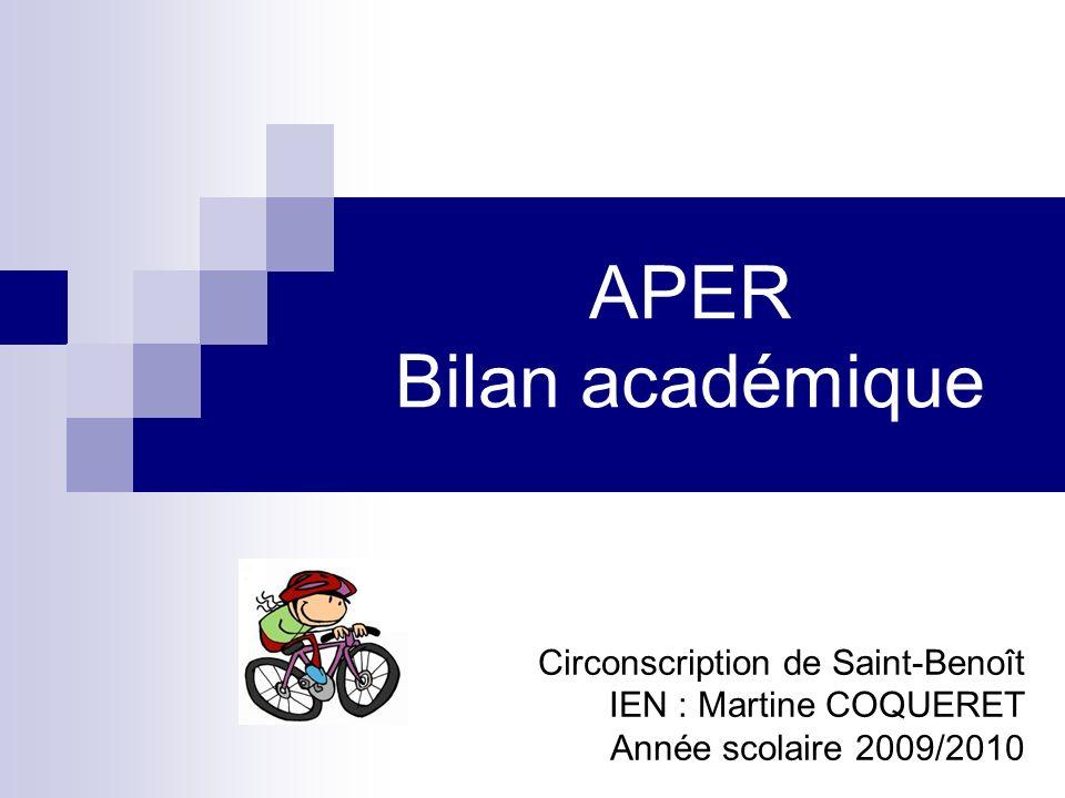 APER Bilan académique Circonscription de Saint-Benoît IEN : Martine COQUERET Année scolaire 2009/2010