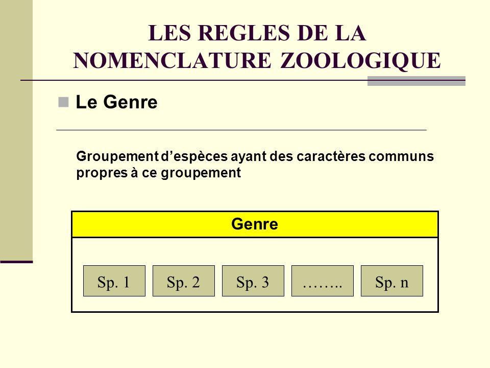 LES REGLES DE LA NOMENCLATURE ZOOLOGIQUE Le Genre Sp.