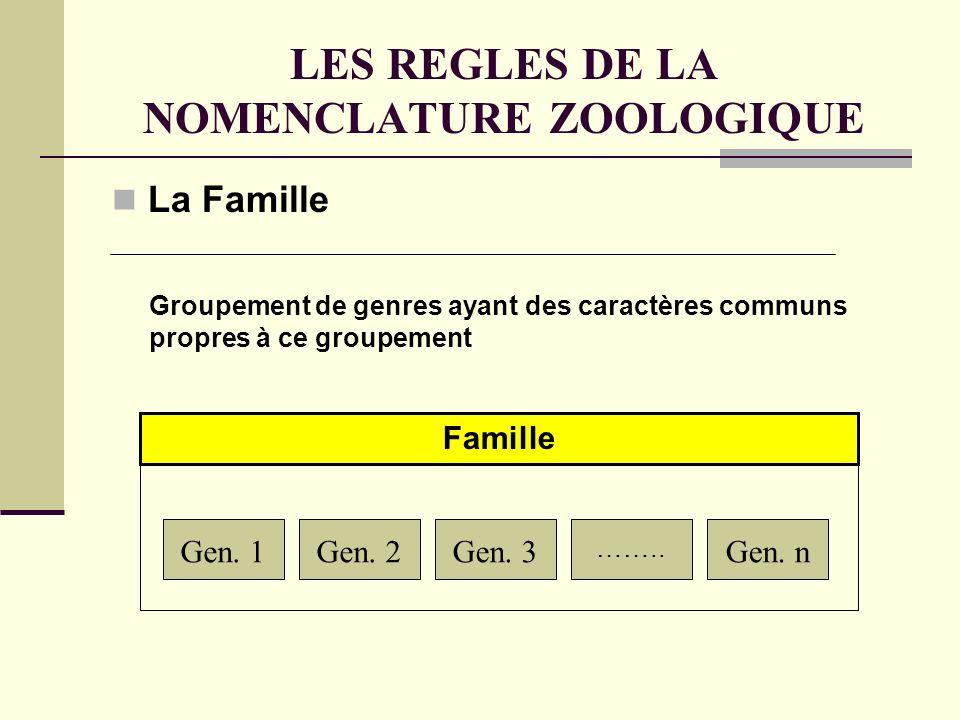 LES REGLES DE LA NOMENCLATURE ZOOLOGIQUE La Famille Gen.