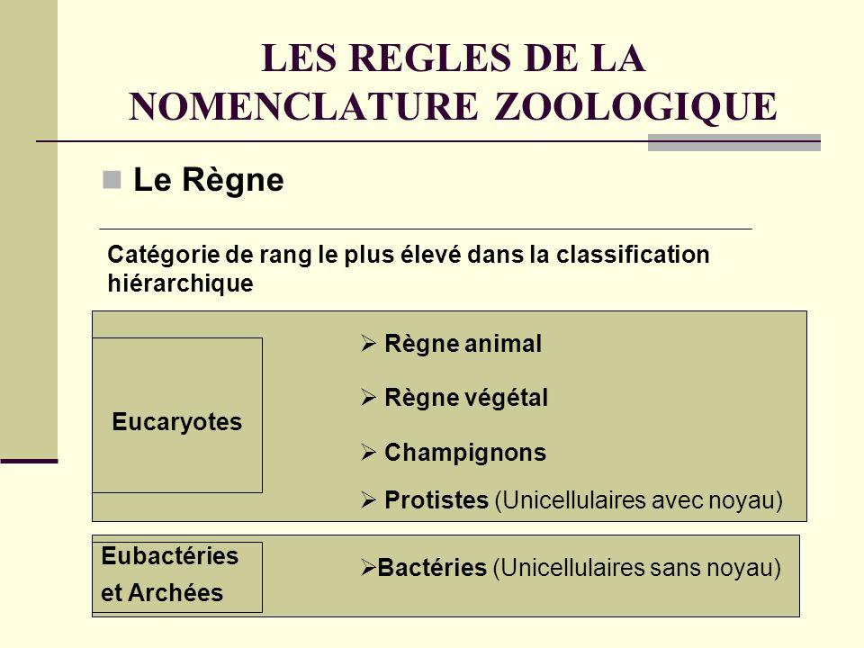 LES REGLES DE LA NOMENCLATURE ZOOLOGIQUE Le Règne Catégorie de rang le plus élevé dans la classification hiérarchique Règne animal Règne végétal Champignons Protistes (Unicellulaires avec noyau) Bactéries (Unicellulaires sans noyau) Eucaryotes Eubactéries et Archées