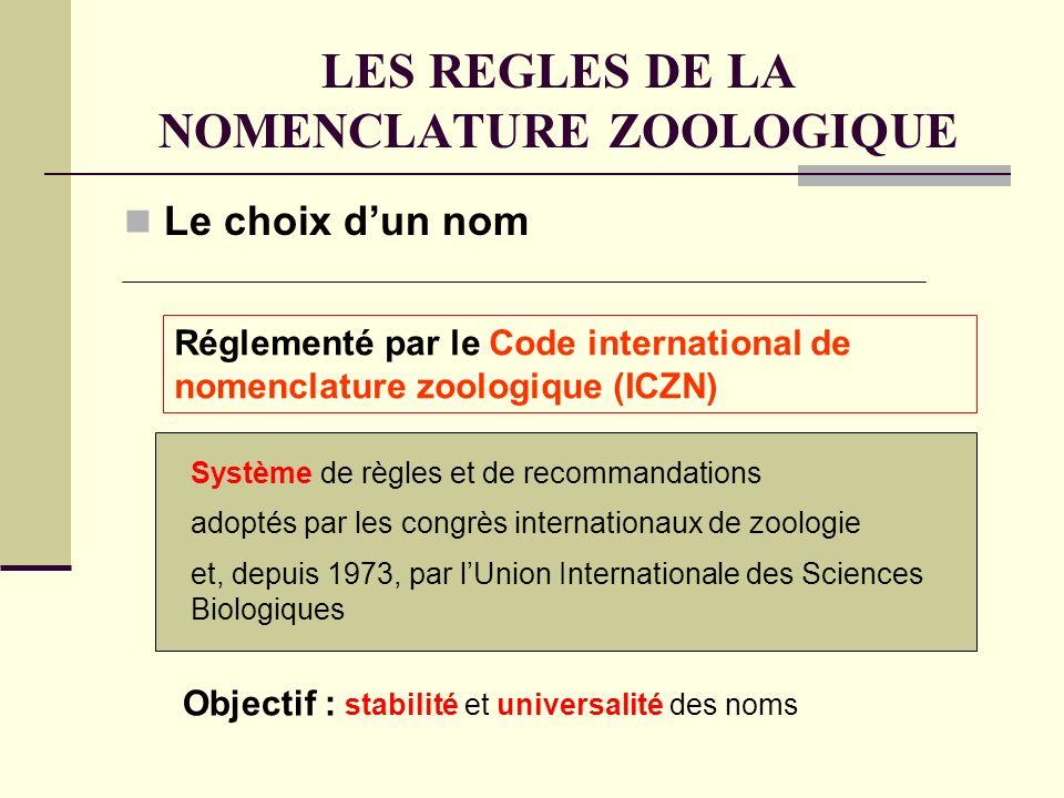 LES REGLES DE LA NOMENCLATURE ZOOLOGIQUE Le choix dun nom Système de règles et de recommandations Réglementé par le Code international de nomenclature zoologique (ICZN) Objectif : stabilité et universalité des noms adoptés par les congrès internationaux de zoologie et, depuis 1973, par lUnion Internationale des Sciences Biologiques