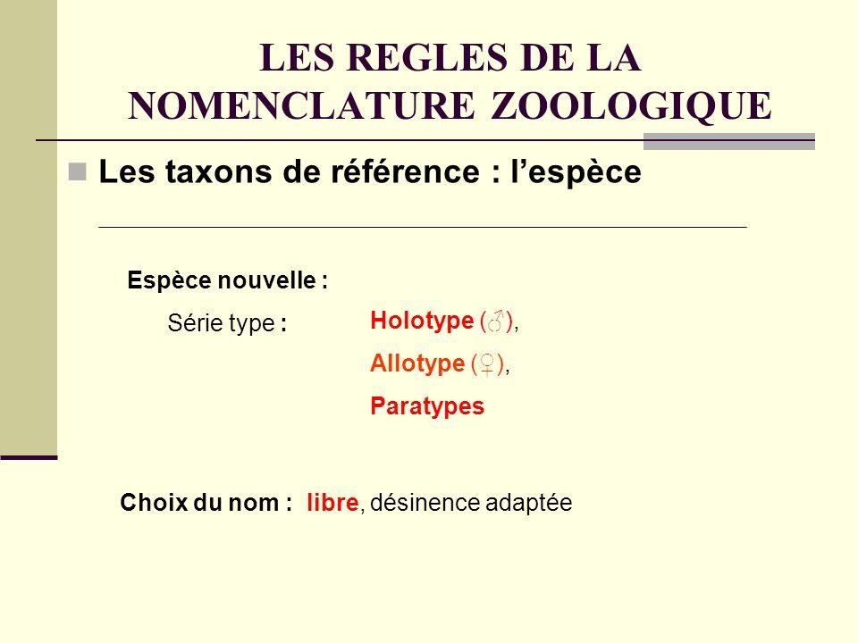 LES REGLES DE LA NOMENCLATURE ZOOLOGIQUE Les taxons de référence : lespèce Espèce nouvelle : Série type : Choix du nom : libre, désinence adaptée Holotype (), Allotype (), Paratypes