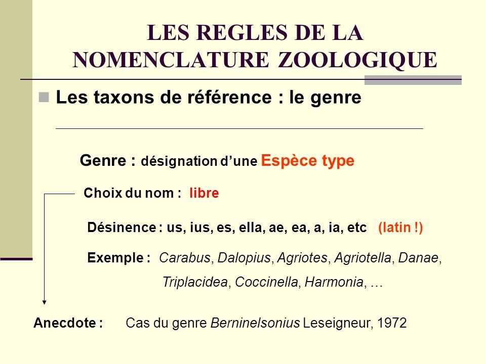 LES REGLES DE LA NOMENCLATURE ZOOLOGIQUE Les taxons de référence : le genre Choix du nom : libre Genre : désignation dune Espèce type Désinence : us, ius, es, ella, ae, ea, a, ia, etc (latin !) Exemple : Carabus, Dalopius, Agriotes, Agriotella, Danae, Triplacidea, Coccinella, Harmonia, … Anecdote : Cas du genre Berninelsonius Leseigneur, 1972