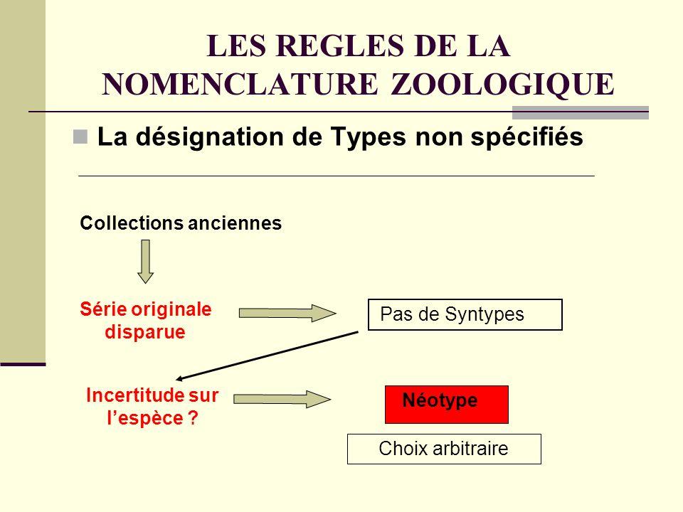 LES REGLES DE LA NOMENCLATURE ZOOLOGIQUE La désignation de Types non spécifiés Collections anciennes Pas de Syntypes Série originale disparue Néotype Incertitude sur lespèce .