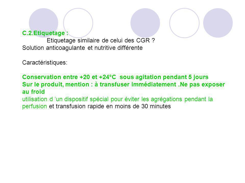 C.2.Etiquetage : Etiquetage similaire de celui des CGR ? Solution anticoagulante et nutritive différente Caractéristiques: Conservation entre +20 et +