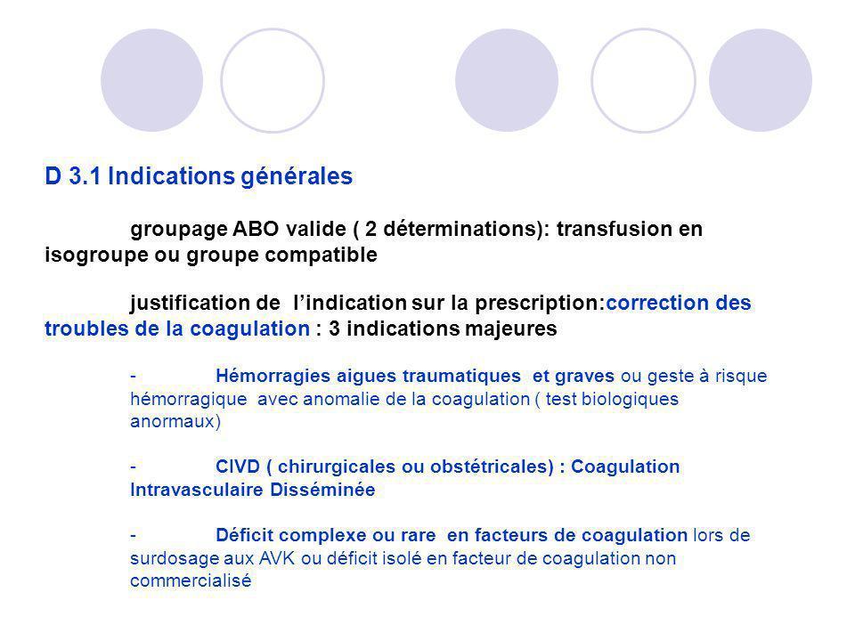 D 3.1 Indications générales groupage ABO valide ( 2 déterminations): transfusion en isogroupe ou groupe compatible justification de lindication sur la