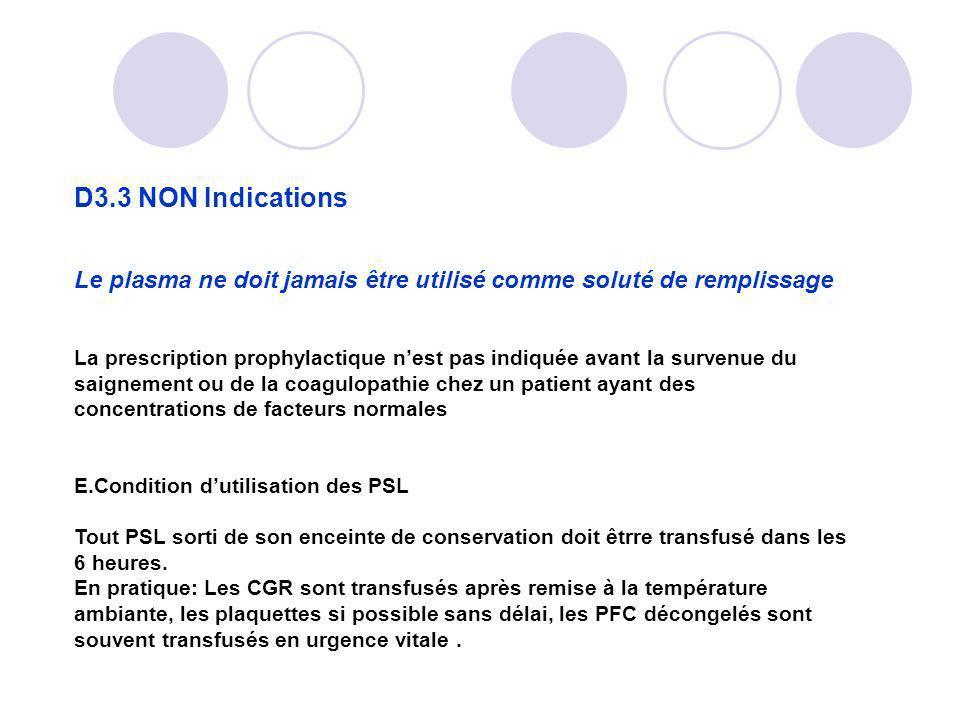 D3.3 NON Indications Le plasma ne doit jamais être utilisé comme soluté de remplissage La prescription prophylactique nest pas indiquée avant la surve