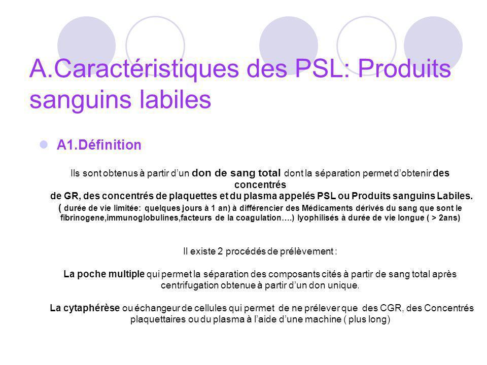 A.Caractéristiques des PSL: Produits sanguins labiles A1.Définition Ils sont obtenus à partir dun don de sang total dont la séparation permet dobtenir