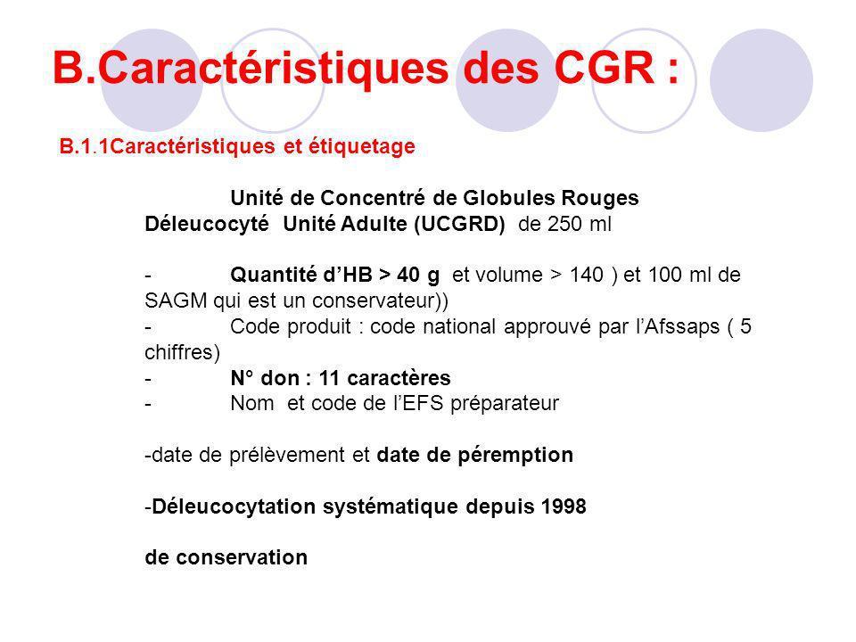 B.Caractéristiques des CGR : B.1.1Caractéristiques et étiquetage Unité de Concentré de Globules Rouges Déleucocyté Unité Adulte (UCGRD) de 250 ml -Qua