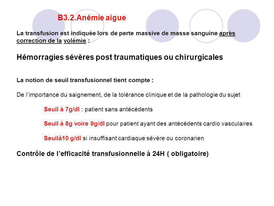 B3.2.Anémie aigue La transfusion est indiquée lors de perte massive de masse sanguine après correction de la volémie : Hémorragies sévères post trauma