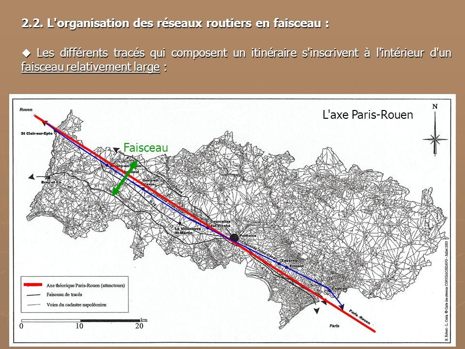 L'axe Paris-Rouen Faisceau 2.2. L'organisation des réseaux routiers en faisceau : Les différents tracés qui composent un itinéraire s'inscrivent à l'i