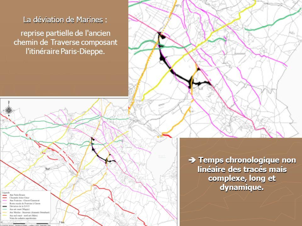 La déviation de Marines La déviation de Marines : reprise partielle de l'ancien chemin de Traverse composant l'itinéraire Paris-Dieppe. Temps chronolo