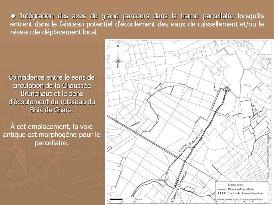 Coïncidence entre le sens de circulation de la Chaussée Brunehaut et le sens découlement du ruisseau du Bois de Chars. À cet emplacement, la voie anti