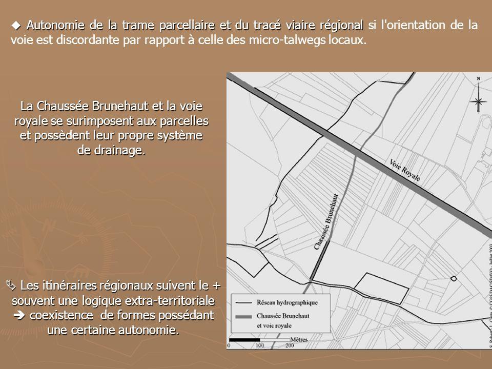 La Chaussée Brunehaut et la voie royale se surimposent aux parcelles et possèdent leur propre système de drainage. Autonomie de la trame parcellaire e