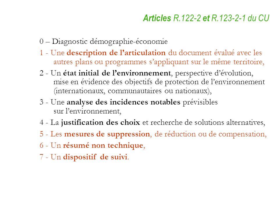 0 – Diagnostic démographie-économie 1 - Une description de larticulation du document évalué avec les autres plans ou programmes sappliquant sur le mêm