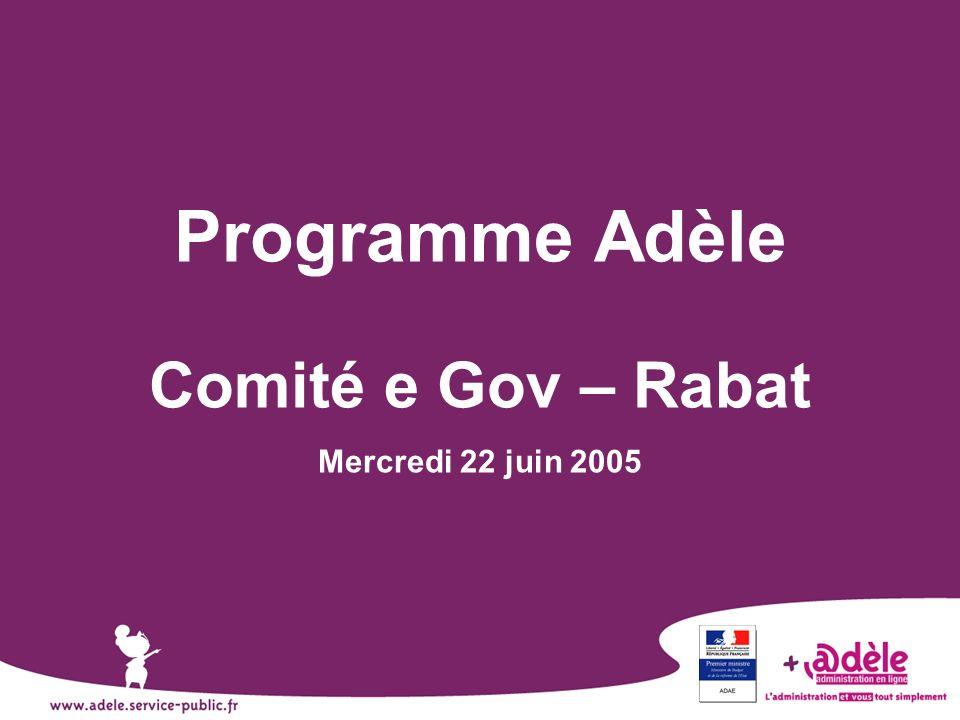 Programme Adèle Comité e Gov – Rabat Mercredi 22 juin 2005