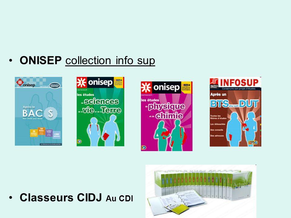 ONISEP collection info sup Classeurs CIDJ Au CDI