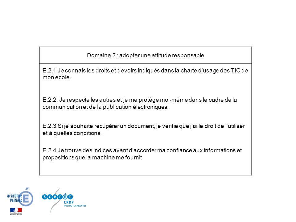 Domaine 2 : adopter une attitude responsable E.2.1 Je connais les droits et devoirs indiqués dans la charte dusage des TIC de mon école.