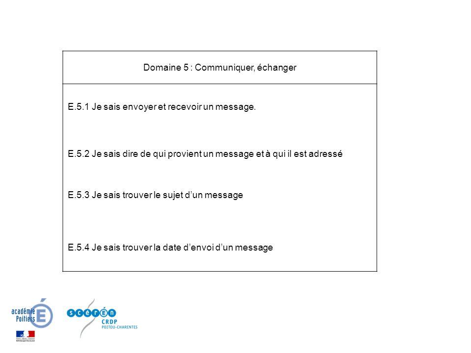 Domaine 5 : Communiquer, échanger E.5.1 Je sais envoyer et recevoir un message.
