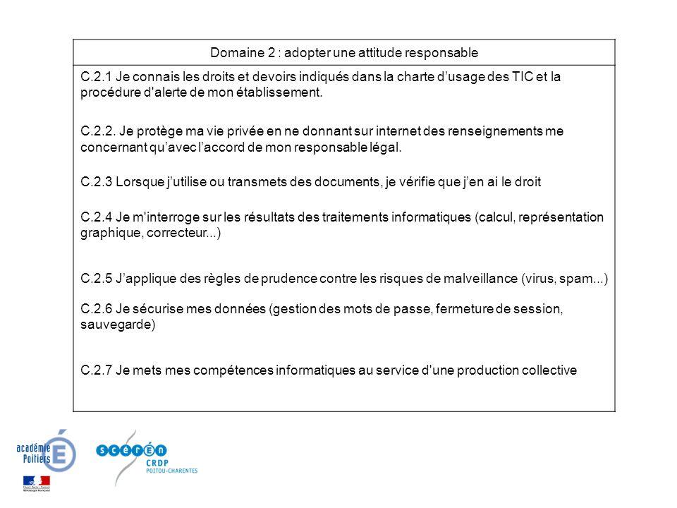 Domaine 2 : adopter une attitude responsable C.2.1 Je connais les droits et devoirs indiqués dans la charte dusage des TIC et la procédure d alerte de mon établissement.