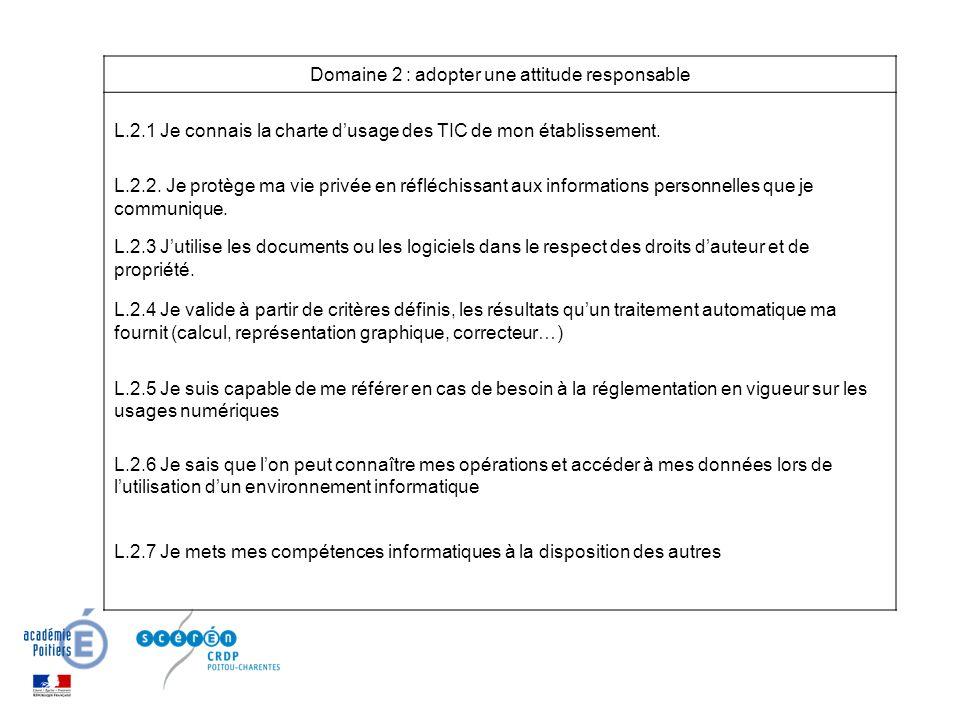 Domaine 2 : adopter une attitude responsable L.2.1 Je connais la charte dusage des TIC de mon établissement.