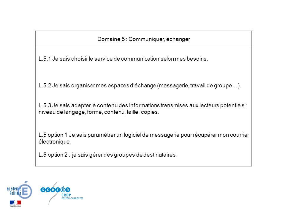 Domaine 5 : Communiquer, échanger L.5.1 Je sais choisir le service de communication selon mes besoins.