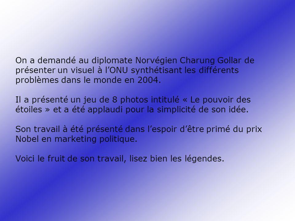 On a demandé au diplomate Norvégien Charung Gollar de présenter un visuel à lONU synthétisant les différents problèmes dans le monde en 2004. Il a pré