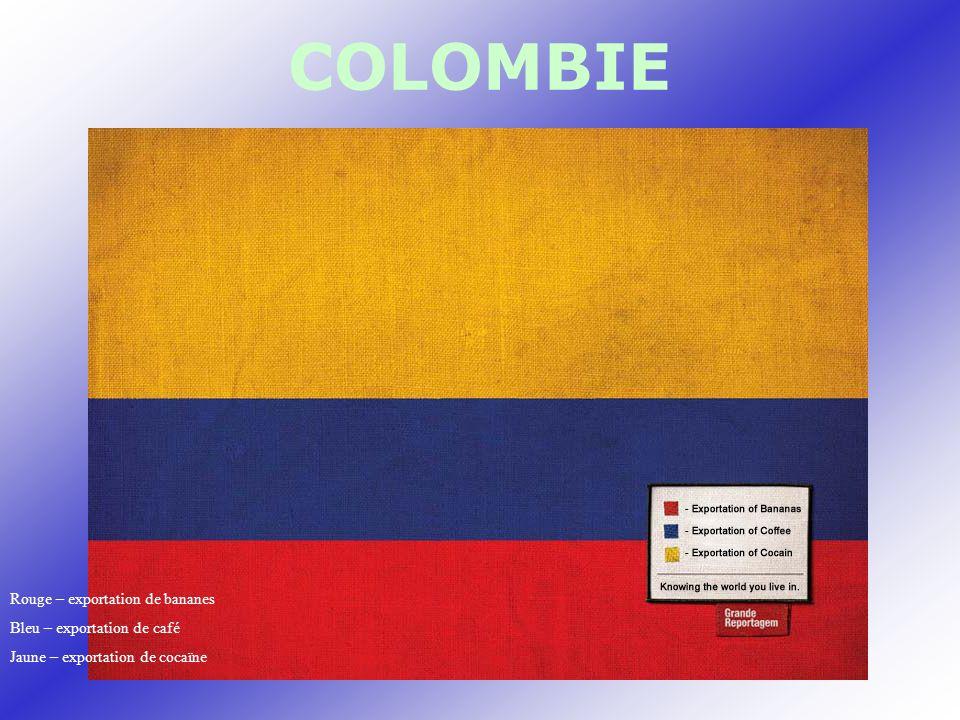 COLOMBIE Rouge – exportation de bananes Bleu – exportation de café Jaune – exportation de cocaïne