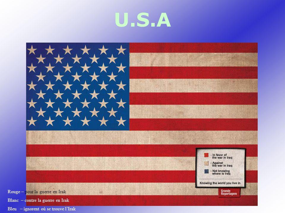 U.S.A Rouge – pour la guerre en Irak Blanc – contre la guerre en Irak Bleu – ignorent où se trouve lIrak