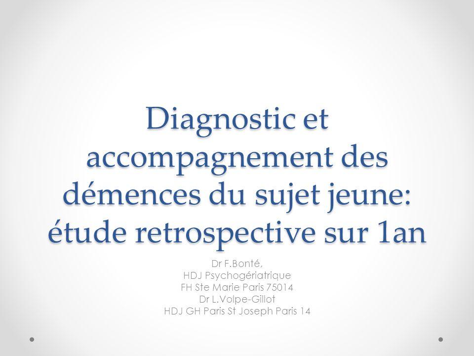 Diagnostic et accompagnement des démences du sujet jeune: étude retrospective sur 1an Dr F.Bonté, HDJ Psychogériatrique FH Ste Marie Paris 75014 Dr L.