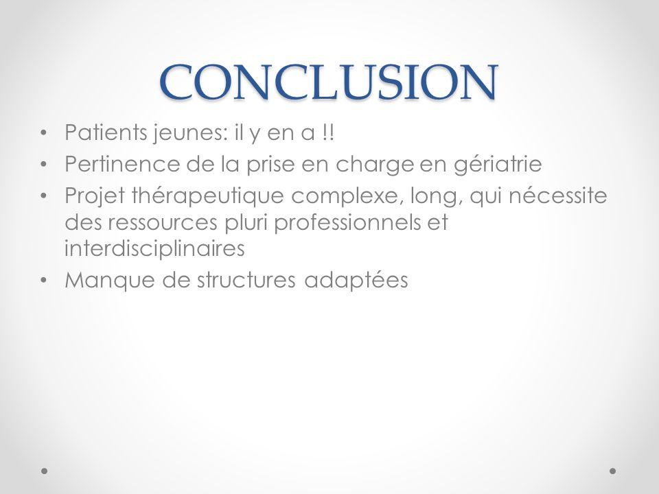CONCLUSION Patients jeunes: il y en a !! Pertinence de la prise en charge en gériatrie Projet thérapeutique complexe, long, qui nécessite des ressourc