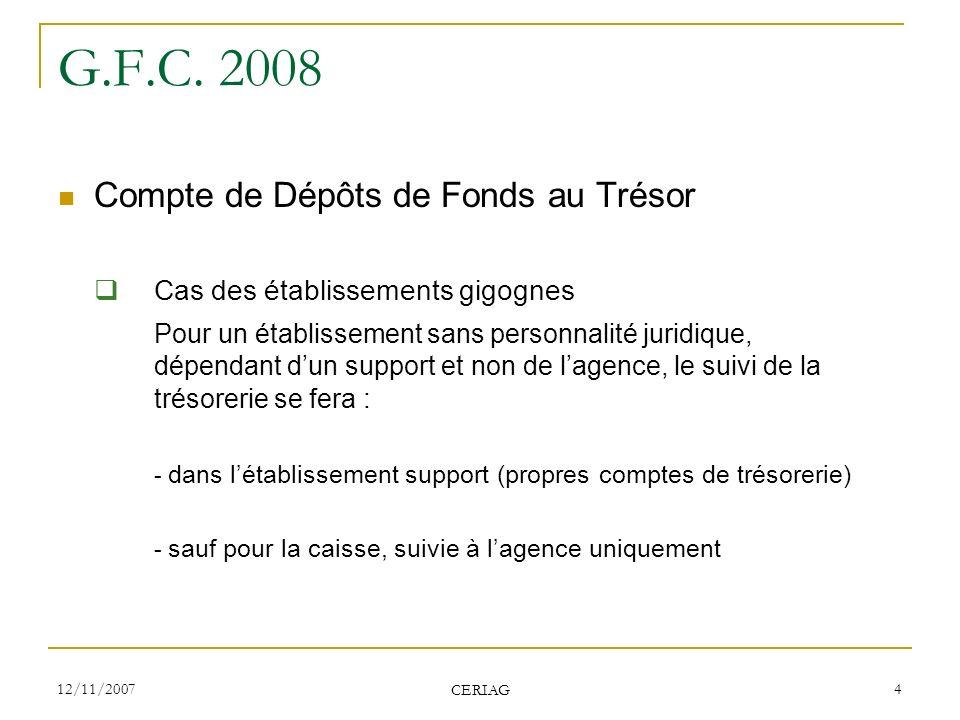 12/11/2007 CERIAG 4 G.F.C. 2008 Compte de Dépôts de Fonds au Trésor Cas des établissements gigognes Pour un établissement sans personnalité juridique,