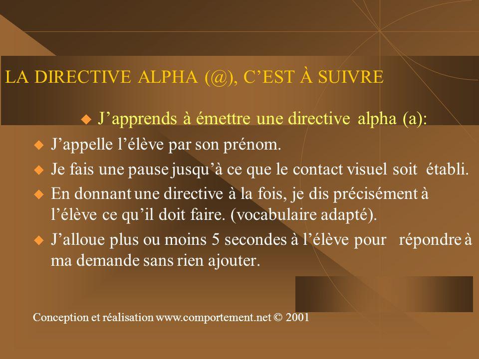 LA DIRECTIVE ALPHA (@), CEST À SUIVRE Japprends à émettre une directive alpha (a): Jappelle lélève par son prénom. Je fais une pause jusquà ce que le