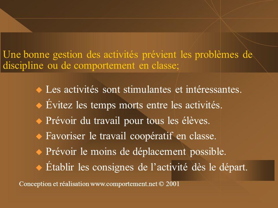 Une bonne gestion des activités prévient les problèmes de discipline ou de comportement en classe; Les activités sont stimulantes et intéressantes. Év