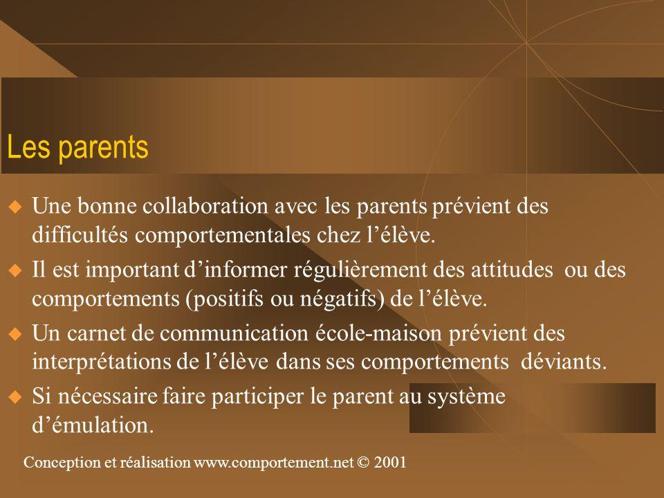 Les parents Une bonne collaboration avec les parents prévient des difficultés comportementales chez lélève. Il est important dinformer régulièrement d