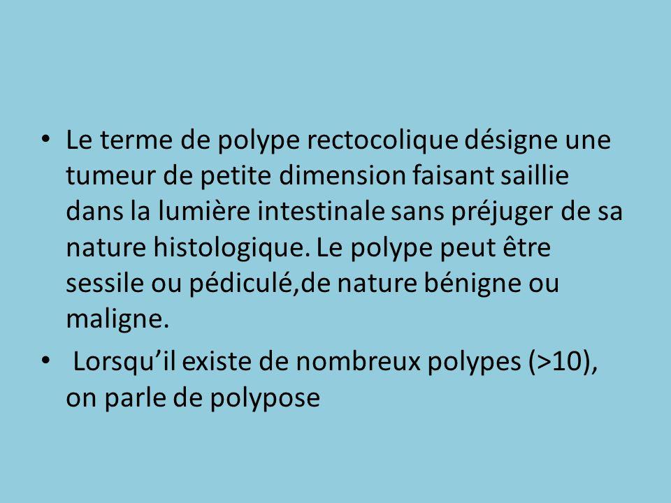 Le terme de polype rectocolique désigne une tumeur de petite dimension faisant saillie dans la lumière intestinale sans préjuger de sa nature histolog