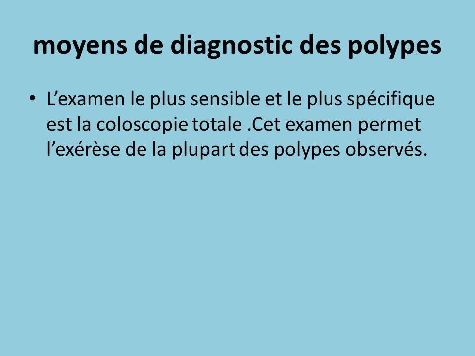 moyens de diagnostic des polypes Lexamen le plus sensible et le plus spécifique est la coloscopie totale.Cet examen permet lexérèse de la plupart des