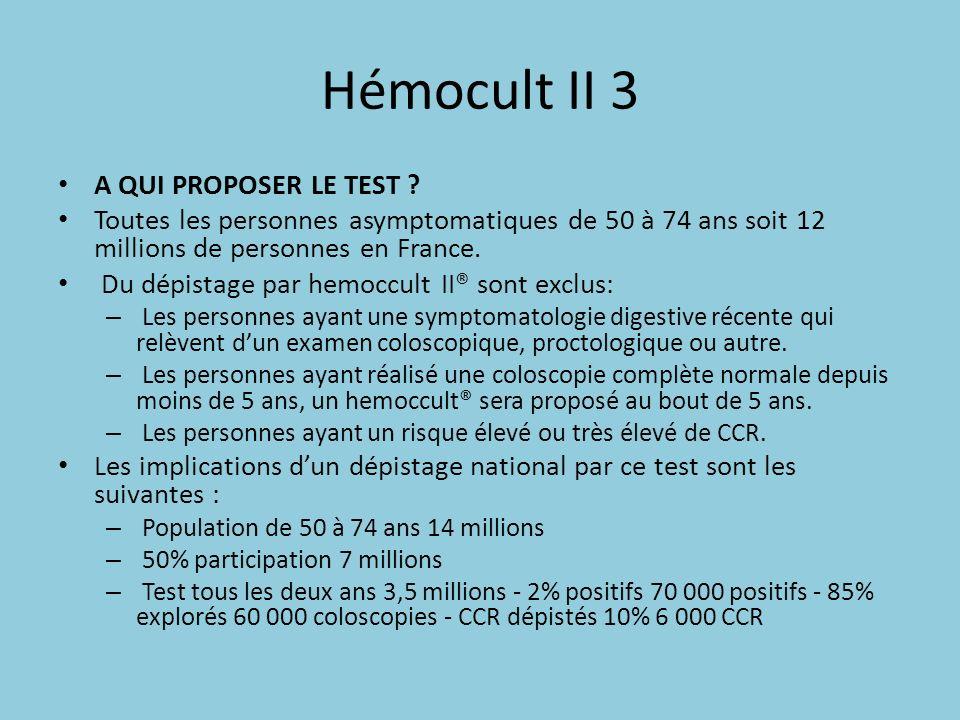 Hémocult II 3 A QUI PROPOSER LE TEST ? Toutes les personnes asymptomatiques de 50 à 74 ans soit 12 millions de personnes en France. Du dépistage par h
